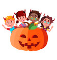 group of children with devil horns peeking out vector image