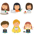 happy girls with laptops vector image vector image