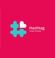 hashtag symbol heart logo icon design template vector image vector image