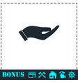 holding palm icon flat vector image vector image