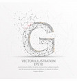 letter g form low poly wire frame on white vector image