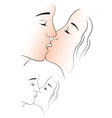 man and woman kissing vector image vector image