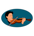 man playing violin on white background vector image