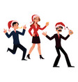 mans woman in santa hats having fun at christmas vector image vector image