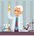old man scientist in lab vector image