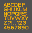 Paper yellow strict alphabet rounded Isolated on vector image