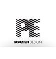 pe p e lines letter design with creative elegant vector image vector image