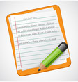 realistic notepad icon with green pencil vector image