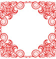 red beautiful frame in classic style on white back vector image vector image