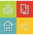 Road tourist icons in line style on color vector image vector image