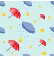Seamless pattern of umbrellas and clouds vector image