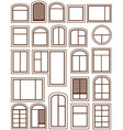 set isolated windows silhouette vector image vector image
