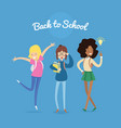 set of diverse students in flat cartoon style vector image vector image