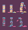 set of jenga wooden block game vector image
