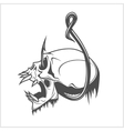 Skull on a fishing hook vector image vector image