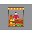 Street seller with stall fruits and vegetables vector image