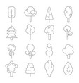 stylized linear trees symbols of various vector image vector image