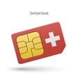 Switzerland mobile phone sim card with flag vector image vector image