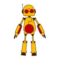 Toy robot or alien in bright yellow vector image vector image