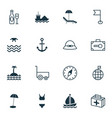 travel icons set collection of security baggage vector image