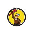 Turkey Plumber Raising Wrench Circle Cartoon vector image vector image