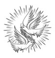 two pigeons with olive branch tattoo vector image vector image