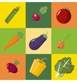 Vegetables Set Healthy Food Pepper Eggplant Peas vector image