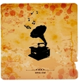 Vintage postcard Retro turntable on grunge vector image vector image