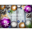 winter background with cute decorations vector image vector image