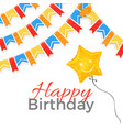 happy birthday greeting on banner with balloon in vector image