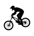 athlete rider on bike mountain biking vector image