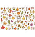 autumn doodle design elements vector image vector image