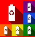 battery recycle sign set of vector image vector image