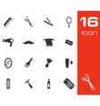 black barber icon set on white background vector image
