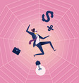 business man be trapped on cobweb business concept vector image vector image