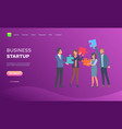 business startup people with puzzles website page vector image