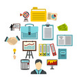business strategy icons set flat style vector image
