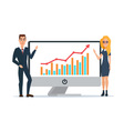 Business women and men present graphs on the in vector image vector image
