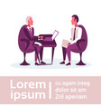 businessmen sitting workplace business interview vector image
