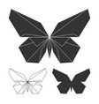 butterflies logo set line and silhouette vector image