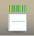 cover of diary blue green yellow striped pattern vector image vector image