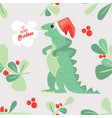 cute dino wish you to have a very merry christmas vector image vector image