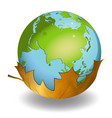 earth globes on leaf on white background vector image vector image