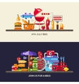 Flat design barbecue and summer picnic banners set vector image