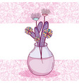 flowers in glass jar card vector image vector image