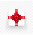 gift box red bow ribbon template birthday new vector image