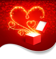 Gift box with magic hearts vector image