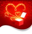 Gift box with magic hearts vector image vector image