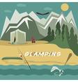 glamor camping flat design landscape vector image