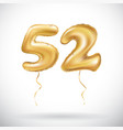 golden number 52 fifty two metallic balloon party vector image